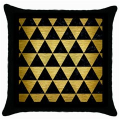 Triangle3 Black Marble & Gold Brushed Metal Throw Pillow Case (black) by trendistuff