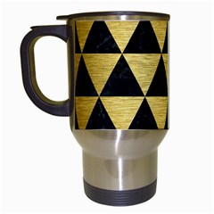 Triangle3 Black Marble & Gold Brushed Metal Travel Mug (white) by trendistuff