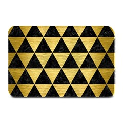 Triangle3 Black Marble & Gold Brushed Metal Plate Mat by trendistuff