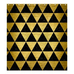 Triangle3 Black Marble & Gold Brushed Metal Shower Curtain 66  X 72  (large) by trendistuff