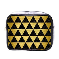 Triangle3 Black Marble & Gold Brushed Metal Mini Toiletries Bag (one Side) by trendistuff