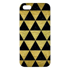 Triangle3 Black Marble & Gold Brushed Metal Apple Iphone 5 Premium Hardshell Case by trendistuff