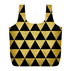 Triangle3 Black Marble & Gold Brushed Metal Full Print Recycle Bag (l) by trendistuff