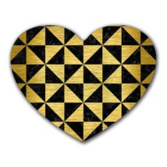Triangle1 Black Marble & Gold Brushed Metal Heart Mousepad by trendistuff