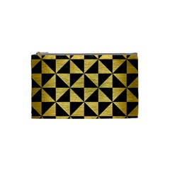 Triangle1 Black Marble & Gold Brushed Metal Cosmetic Bag (small) by trendistuff