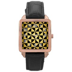Triangle1 Black Marble & Gold Brushed Metal Rose Gold Leather Watch  by trendistuff