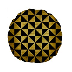 Triangle1 Black Marble & Gold Brushed Metal Standard 15  Premium Flano Round Cushion  by trendistuff