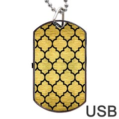 Tile1 Black Marble & Gold Brushed Metal (r) Dog Tag Usb Flash (two Sides) by trendistuff