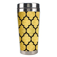 Tile1 Black Marble & Gold Brushed Metal (r) Stainless Steel Travel Tumbler by trendistuff