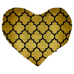 Tile1 Black Marble & Gold Brushed Metal (r) Large 19  Premium Flano Heart Shape Cushion by trendistuff