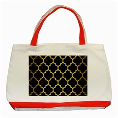 Tile1 Black Marble & Gold Brushed Metal Classic Tote Bag (red) by trendistuff