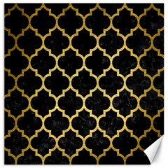 Tile1 Black Marble & Gold Brushed Metal Canvas 20  X 20  by trendistuff