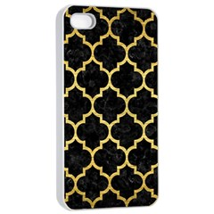 Tile1 Black Marble & Gold Brushed Metal Apple Iphone 4/4s Seamless Case (white) by trendistuff