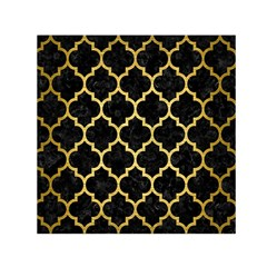 Tile1 Black Marble & Gold Brushed Metal Small Satin Scarf (square) by trendistuff