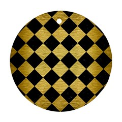 Square2 Black Marble & Gold Brushed Metal Round Ornament (two Sides) by trendistuff