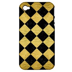 Square2 Black Marble & Gold Brushed Metal Apple Iphone 4/4s Hardshell Case (pc+silicone) by trendistuff