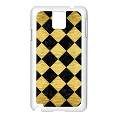 Square2 Black Marble & Gold Brushed Metal Samsung Galaxy Note 3 N9005 Case (white) by trendistuff
