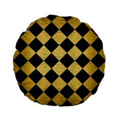 Square2 Black Marble & Gold Brushed Metal Standard 15  Premium Flano Round Cushion  by trendistuff