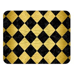 Square2 Black Marble & Gold Brushed Metal Double Sided Flano Blanket (large) by trendistuff