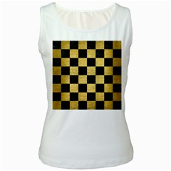 Square1 Black Marble & Gold Brushed Metal Women s White Tank Top by trendistuff