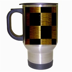 Square1 Black Marble & Gold Brushed Metal Travel Mug (silver Gray) by trendistuff