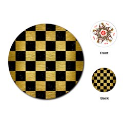 Square1 Black Marble & Gold Brushed Metal Playing Cards (round) by trendistuff
