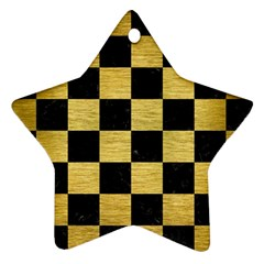 Square1 Black Marble & Gold Brushed Metal Star Ornament (two Sides) by trendistuff