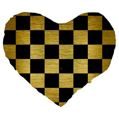 Square1 Black Marble & Gold Brushed Metal Large 19  Premium Heart Shape Cushion by trendistuff