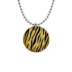 Skin3 Black Marble & Gold Brushed Metal (r) 1  Button Necklace by trendistuff