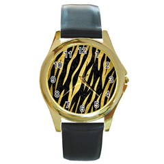 Skin3 Black Marble & Gold Brushed Metal Round Gold Metal Watch by trendistuff