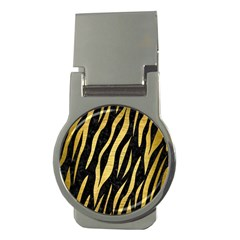 Skin3 Black Marble & Gold Brushed Metal Money Clip (round) by trendistuff