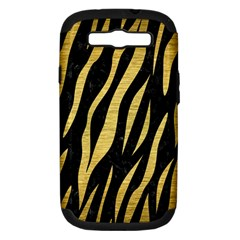 Skin3 Black Marble & Gold Brushed Metal Samsung Galaxy S Iii Hardshell Case (pc+silicone) by trendistuff