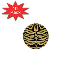 SKIN2 BLACK MARBLE & GOLD BRUSHED METAL (R) 1  Mini Button (10 pack)