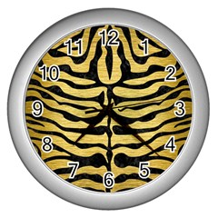 SKIN2 BLACK MARBLE & GOLD BRUSHED METAL (R) Wall Clock (Silver)