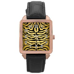 SKIN2 BLACK MARBLE & GOLD BRUSHED METAL (R) Rose Gold Leather Watch