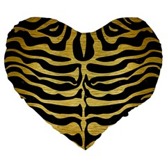 Skin2 Black Marble & Gold Brushed Metal Large 19  Premium Heart Shape Cushion by trendistuff