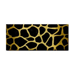 Skin1 Black Marble & Gold Brushed Metal (r) Hand Towel by trendistuff