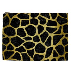 Skin1 Black Marble & Gold Brushed Metal (r) Cosmetic Bag (xxl) by trendistuff