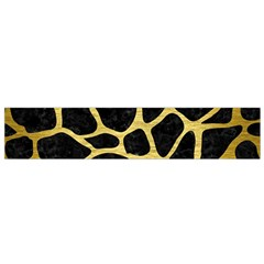 Skin1 Black Marble & Gold Brushed Metal (r) Flano Scarf (small) by trendistuff