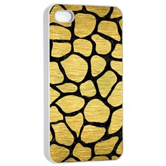Skin1 Black Marble & Gold Brushed Metal Apple Iphone 4/4s Seamless Case (white) by trendistuff