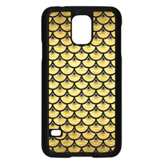 Scales3 Black Marble & Gold Brushed Metal (r) Samsung Galaxy S5 Case (black) by trendistuff