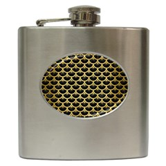 Scales3 Black Marble & Gold Brushed Metal Hip Flask (6 Oz) by trendistuff