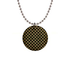 Scales3 Black Marble & Gold Brushed Metal 1  Button Necklace by trendistuff