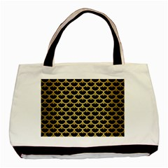 Scales3 Black Marble & Gold Brushed Metal Basic Tote Bag by trendistuff
