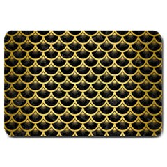 Scales3 Black Marble & Gold Brushed Metal Large Doormat by trendistuff