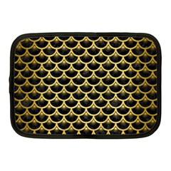Scales3 Black Marble & Gold Brushed Metal Netbook Case (medium) by trendistuff