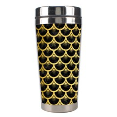 Scales3 Black Marble & Gold Brushed Metal Stainless Steel Travel Tumbler by trendistuff