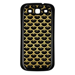 Scales3 Black Marble & Gold Brushed Metal Samsung Galaxy S3 Back Case (black) by trendistuff