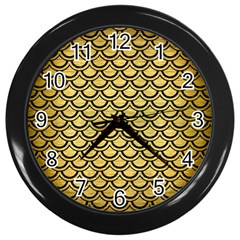 Scales2 Black Marble & Gold Brushed Metal (r) Wall Clock (black) by trendistuff