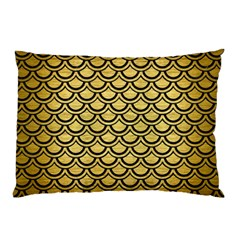Scales2 Black Marble & Gold Brushed Metal (r) Pillow Case (two Sides)